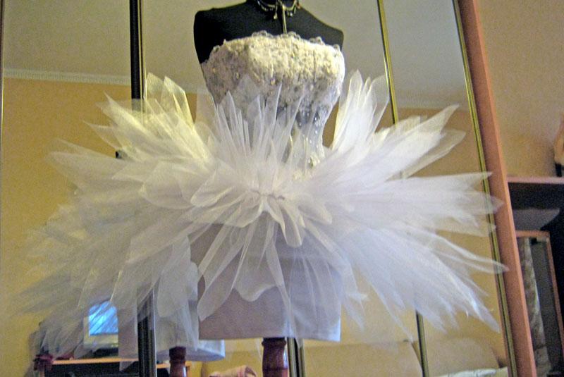 Короткое пышное свадебное платье белого цвета. (Москва) от Ксения